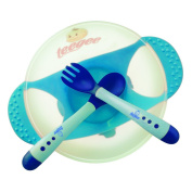 Baby Bowl Set with Fork and Spoon by Teegee, Blue Colour, BPA Free with Strong Suction Base and Soft Tip Colour Change Utensils.