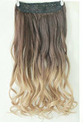 New 50cm 60cm Ombre Two Tone One Piece Long Curl/curly/wavy Synthetic Thick Clip in on Hair Extensions Hairpieces Not Human Hair