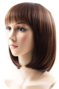 Rabbitgoo Halloween Beautiful Short Natural Brown Straight Wig Lace Front Bob Wigs for Women with Wig Cap