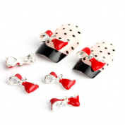 Adored Silver Red Bow Tie 10 Pieces Silver 3d Alloy Nail Art Slices Glitters DIY Decorations