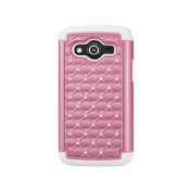 Reiko Diamond Hybrid Protector Cover Phone Case for Samsung Galaxy Avant - Retail Packaging - White/Pink