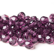 60 pcs 4 mm Czech Fire Polished Faceted Round Glass Bead, Dark Purple