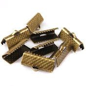 100pcs 16mm Textured Plated Metal Ribbon Bracelet Bookmark Pinch Crimp End Findings With Silvery/Golden/Rhodium/ Bronze Plated