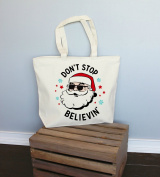 Don't Stop Believin' Santa Extra Large Tote Bag in Natural Colour