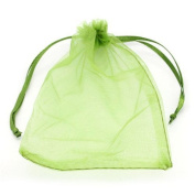 Stock Show 100Pcs Elegant & Deluxe Gold Wire Drawstring Silk Pouch Strong Wedding Favour Gift Candy Bags, 10*15cm, Green