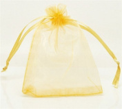 Stock Show 100Pcs Elegant & Deluxe Drawstring Silk Pouch Strong Wedding Favour Gift Candy Bags, Yellow, 9*12cm