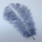 12-14inch 30-35cm Grey Natural Ostrich Feather Wedding Party Decoration Pack of 10