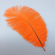 12-14inch 30-35cm Orange Natural Ostrich Feather Wedding Party Decoration Pack of 10