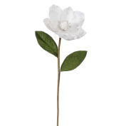 Pack of 6 White Glitter Magnolia Flower Artificial