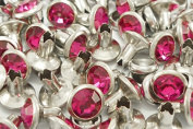 40Set 8mm Pink Magenta Synthetic Crystal Rhinestone RIVETS Diamond Studs RV6098
