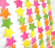 KINGWEDDING 100cm Long Paper Stars Hanging Decoration String Paper Garland Wedding Birthday Party Baby Shower Background Decorative -Hot Pink,Yellow,Orange and Green