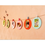 MMRM 7.6cm Paper Photo Frame Hanging Picture Wall Display with Clips Rope 10pcs