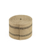 Jute Webbing, 8.9cm x 8 yards - Natural with Black Stripes