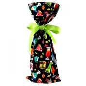 Happy Hour Black Reusable Fabric Gift Bag with Cocktails