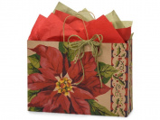 Poinsettia Blooms Gift Bag -Measures 41cm x 15cm x 30cm ) Set of 6 Bags