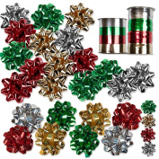 30 Christmas Gift Bows Self Adhesive + 8 Rolls of Christmas Curling Ribbons! Cheque Sizes in Description!