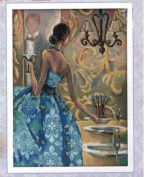 Woman in party, cotton thread 14 ct 135x180 stitch 35x43 cm counted cross stitch kits