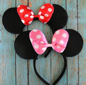 Set of 12 Red and Pink Minnie Mouse Ears, Minnie Mouse Headband, Minnie Mouse Party, Minnie Mouse, Disney Ears, Disneyland Ears