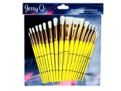 Jerry Q Art 18 pcs Pure Natural Hog Bristle Brush Set for Oil, Acrylic, Tempera. Short Wood Handles JQ181