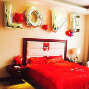 LOVE 100cm Gold Foil Balloons - Stronger Mylar Resists Breakage
