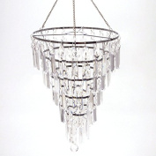 Hanging Beaded Chandelier Decor, 38cm , Rectangular Pendant
