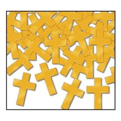 2 Packages of Gold Cross Confetti for Religious Occasions