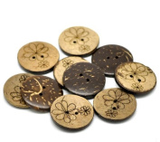 Shizaru Designs® Awesome Coconut Shell Buttons with Designs (20 Pcs) with Beautiful Coconut Wood. 30mm (1-1/8 Inch) Includes Exclusive Shizaru Designs® Gift Bag