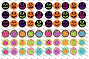 60 Precut Bottle Cap Images Halloween Set 1