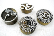 Pack of Four : Swastik, Aum and Buddha Eyes wooden block stamps/ Tattoo/ Indian Textile Printing Blocks