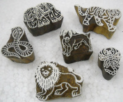Pack of Six : Animals and Reptiles wooden block stamps/ Tattoo/ Indian Textile Printing Blocks
