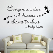 Lanue® English PVC Proverbs Vinyl Wall Quote Decal Home Decor Art - Everyone is a Star and Deserves to Shine Marilyn Monroe