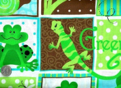 "1 Yard - ""G is for Green"" Baby Frog, Turtle & Gecko Patch Cotton Fabric - Officially Licenced Patty Reed Design (Great for Quilting, Sewing, Craft Projects, Throw Pillows & More) 1 Yard X 110cm"