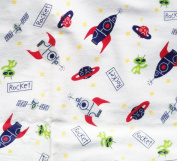 """1/2 Yard - Adorable """"Rockets & Aliens"""" Tossed on White Flannel Fabric (Great for Quilting, Sewing, Craft Projects, Blankets, Throw Pillows & More) 1/2 Yard x 110cm"""
