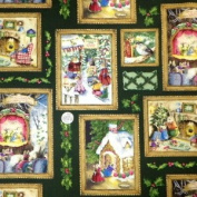 "1 Yard - Holly Pond Hill ""Bunnies Christmas Festivities"" on Green Fabric - by Susan Wheeler (Great for Quilting, Sewing, Craft Projects, Curtains, Pillows, & More) 1 Yard x 110cm"