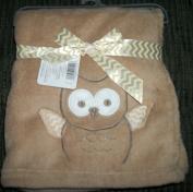 Light Brown Owl 80cm x 80cm Plush Baby Blanket