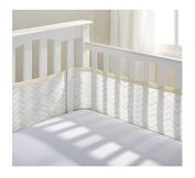 BreathableBaby Mesh Printed Crib Liner - Chevron - Khaki