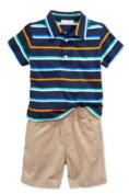 First Impressions Baby Boys' 2-Piece Striped Polo & Shorts Set, 12 Months, Blue