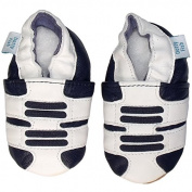 SOFT LEATHER BABY SHOES, SUEDE SOLE, 3-4 YEARS, BOYS - DOTTY FISH
