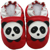 carozoo panda red 6-12m soft sole leather baby shoes
