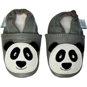 SOFT LEATHER BABY SHOES WITH SUEDE SOLE - GREY PANDA - DOTTY FISH