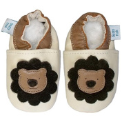 SOFT LEATHER BABY SHOES WITH SUEDE SOLE - CREAM AND BROWN LION - DOTTY FISH