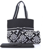 NGIL Black Damask Print Quilted Nappy Bag
