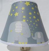 Elephant Night Lights with Yellow Stars and Moon / Elephant Nursery Wall Decor