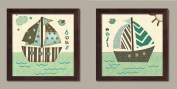 Popular, Adorable Striped and Polka Dot Sail Boat Framed Set; Nursery or Kids Room Decor; Two 30cm x 30cm Brown Framed Prints. Cream/Teal/Brown