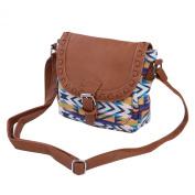 Small Tribal Style Bohemian Aztec Print Flap Crossbody Saddle Shoulder Bag