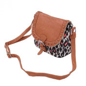 Small Leopard Print Canvas & PU Leather Flap Crossbody Saddle Shoulder Bag