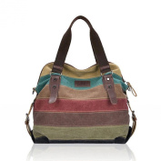 Voberry® Women Canvas Striped Crossbody Bags Vintage Contrast Colour Canvas Tote Handbags