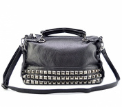 Mn & Sue® Punk Style Soft Pu Leather Cross Body Rivet Studded Shoulder Nightclub Hobo Handbag for Women's