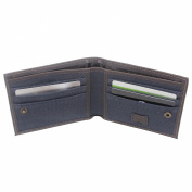 Boshiho® Bifold Wallet Made of Canvas with Leather Bound and Outside Transparent ID Window
