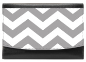 Snaptotes Grey Chevron Leather Compact French Wallet